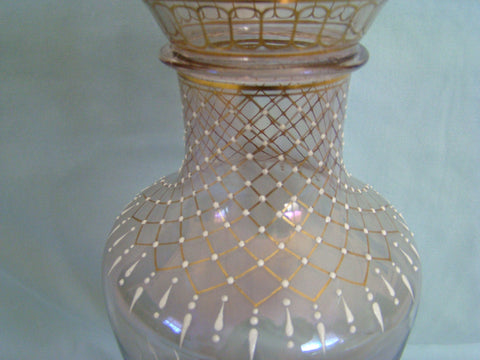 Austrian Gilt and White Enameled Iridescent Glass Vase, designed by Ludwig Lobmeyr, manufactured by J & L Lobmeyr, Vienna, ca. 1880-1895