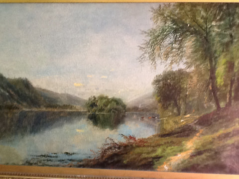 Edmund Darch Lewis (American, 1835-1910), Lake Landscape, 1877, oil on canvas, signed