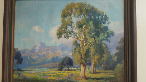 Adolph M. Brougier (German/American, 1870-1926) California Landscape with Eucalyptus, oil on canvas, signed