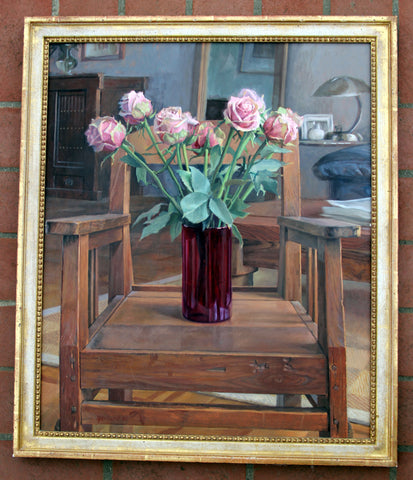 Jason Gaillard (American, b. 1966), Still Life with Roses, 2001, oil on canvas board, signed and dated
