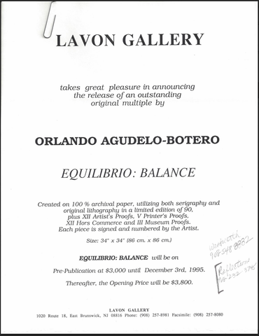Orlando Aguledo-Botero (Colombian, b. 1946), Equilibrio (Balance), 1995, screenprint and lithograph in colors, signed, ed. 90