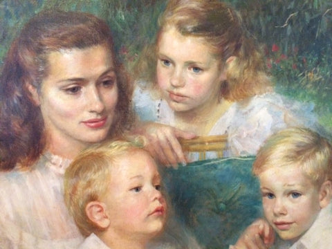 Paul Lewis Clemens (American, 1911-1992), Portrait of the Holden Family, 1948, oil on canvas, signed