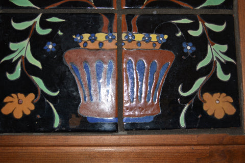 Saracen Six Tile Floral Composition, attributed to Malibu Potteries, design E22, ca. 1930