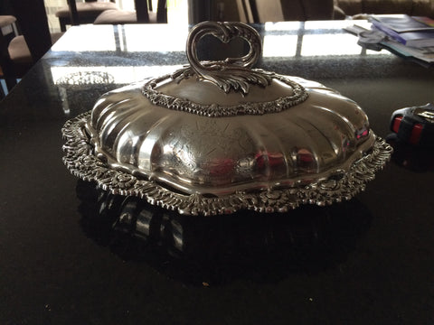 George IV Silver Entrée Dish and Cover, Joseph Angell, London, 1821, the cover engraved with a coat of arms