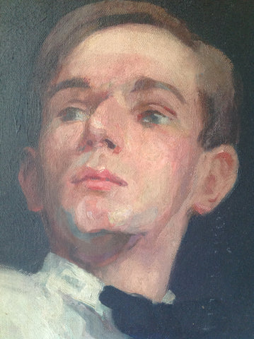 "Portrait of a Young Man, Purported to be Aubrey Beardsley, School of William Merritt Chase, bearing a spurious signature ""WM Chase"""