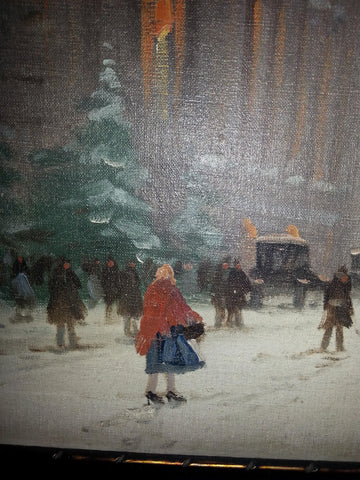 Antal Berkes (Hungarian, 1874-1938)  , Winter Street in Budapest, oil on canvas, signed
