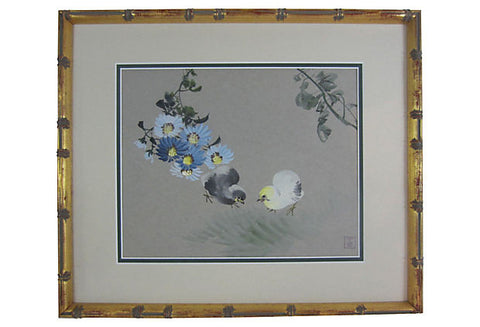 Attributed to Zhāng Shūqí (Chinese, 1901-1957), Chicks and flowers, ink and color on paper