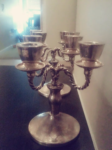 Pair of Mexican Silver Four-Light Candelabra, California Taxco Platería, 20th century