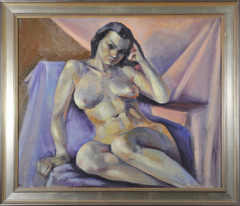 Anne G. Helioff (British/American, 1910-2001), Purple Nude, oil on canvas, probably 1940s