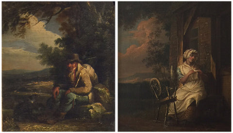 Richard Westall (English, 1765-1836), Traveler at rest; and maid spinning yarn, pair of oil on panel paintings