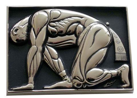 Erte Sterling Silver and Enamel Belt Buckle