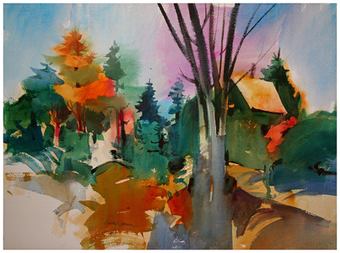 George R. James (American, b.1932), The Fall, watercolor on paper, signed, ca. 1960s