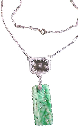 Art Deco 14K Gold, Jade and Glass Necklace, ca. 1920s