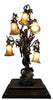 French Spelter 5-Light Figural Lamp with 6 Quezal Shades