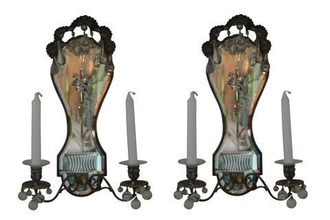 Pair of Continental Mirror Back Two Light Sconces