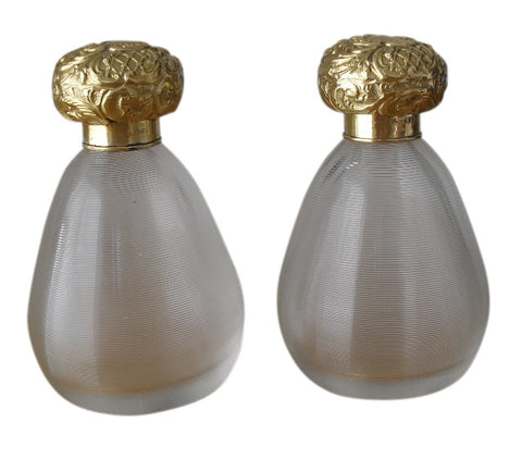 Pair of English Silver-Gilt Mounted Czech Glass Perfume Bottles