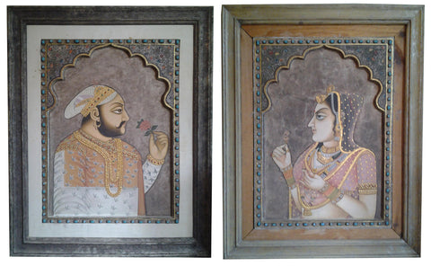 A Pair of Indian Embellished Paintings