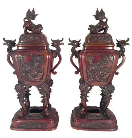 Pair of Japanese Patinated Bronze Censors, Meiji Period (1868-1912)