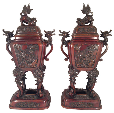 A Pair of Japanese Bronze Censors