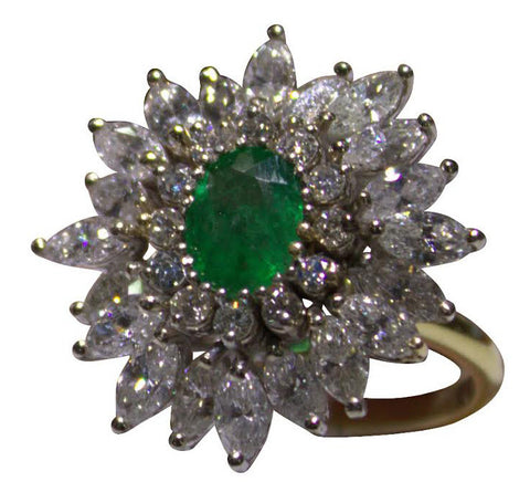 14K White and Yellow Gold, Diamond and Emerald Cocktail Ring