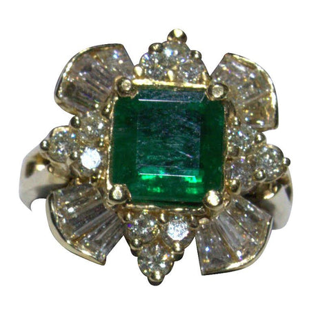 14K Yellow Gold, Diamond and Emerald Ring