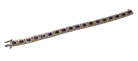 14K Yellow Gold, Diamond and Sapphire Bracelet
