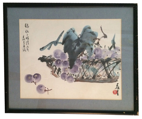 Huang Leisheng (Lui Sang Wong) (Chinese/American, b. 1928), Basket of Grapes, 20th century, ink and color on paper, signed and sealed