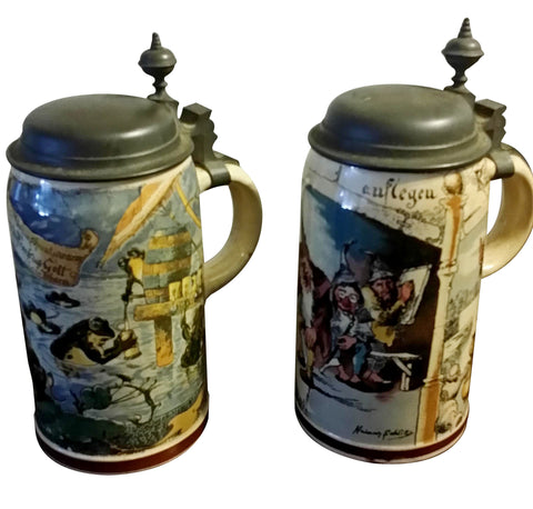 Two Mettlach Pewter-Mounted Ceramic Steins