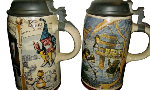 Two Mettlach Pewter-Mounted Ceramic Steins, Villeroy & Boch, Germany, early 20th century