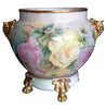 French Porcelain Double-Handled Jardiniere and Base