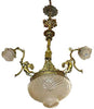 Large Gilt Bronze Three-Light Chandelier