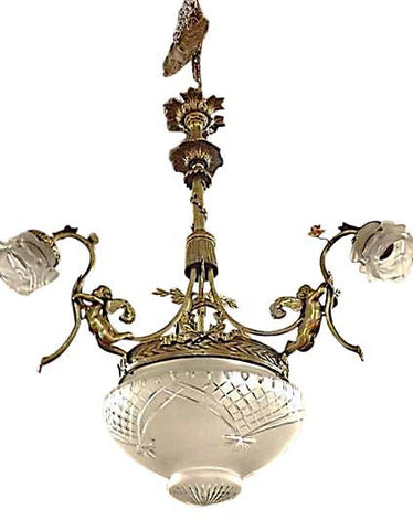 Gilt Bronze Large Three-Light Chandelier, ca. 1920s