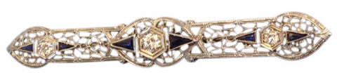 14K White Gold, Diamond and Sapphire Pin