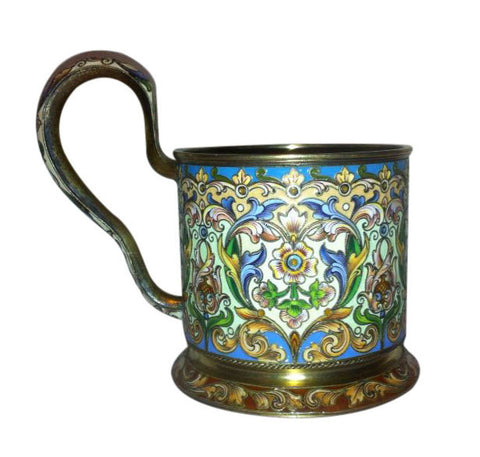 Russian Silver-Gilt and Shaded Enamel Tea Glass Holder