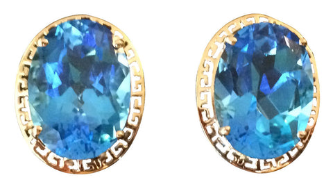 Pair of 14K Yellow Gold and Blue Topaz Earrings