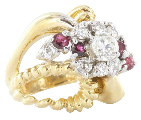 14K Yellow Gold, Diamond and Ruby Ring