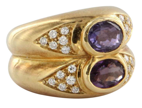 ​14K Yellow Gold, Diamond and Amethyst Cocktail Ring