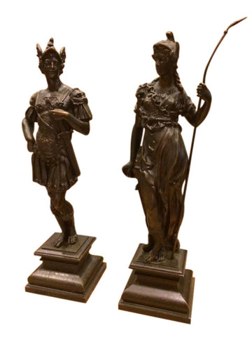 Pair of Continental Patinated Bronze Figures