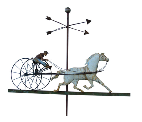American Painted Cast Iron and Copper Sulky Weathervane