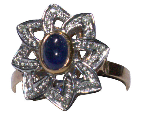 14K Rose and White Gold, Diamond and Sapphire Ring