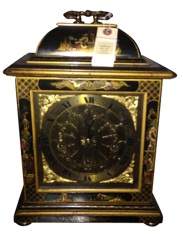 English Black and Gilt Japanned Carriage Clock