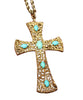 18K Yellow Gold and Turquoise Cross Pendant