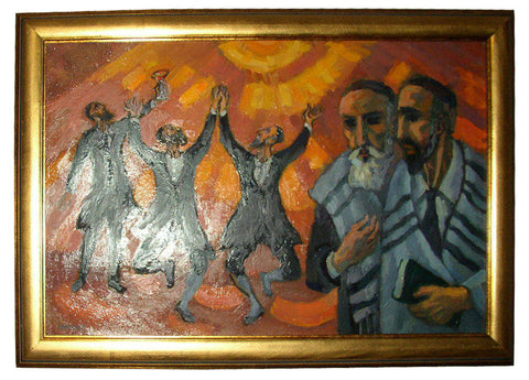 Martin Mondrus (American, b. 1925), Dancing Rabbis, oil on canvas, 20th century, signed