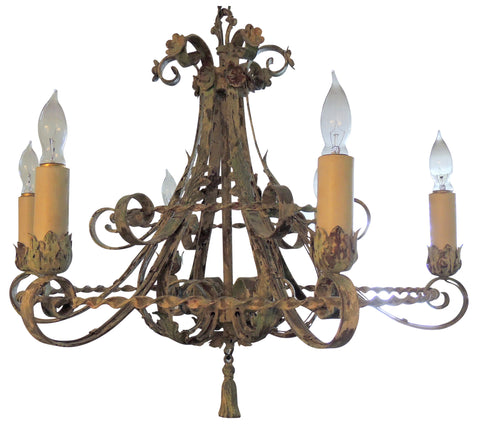 Painted Six Light Wrought Iron Chandelier