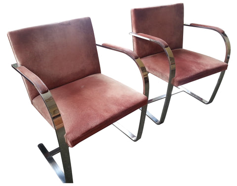 "Pair of Chromed Steel and Upholstered ""Brno"" Armchairs"