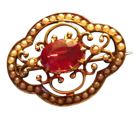 14K Yellow Gold Ruby and Seed Pearl Brooch