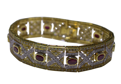 18K Yellow Gold, Diamond and Ruby Bracelet