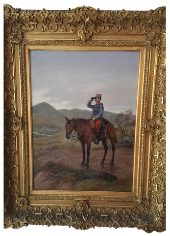 Étienne Prosper Berne-Bellecour (French, 1838-1910), Soldier on Horseback, oil on panel, signed, ca. 1906
