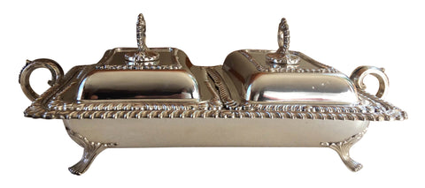 English Silver-Plated Two-Compartment Chafing Dish