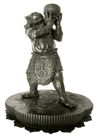 Japanese Cast Bronze Figure of an Oni on a Lotus Stand